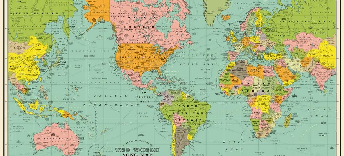 O mapa mundi identificado com can es for Mapa del mundo decoracion